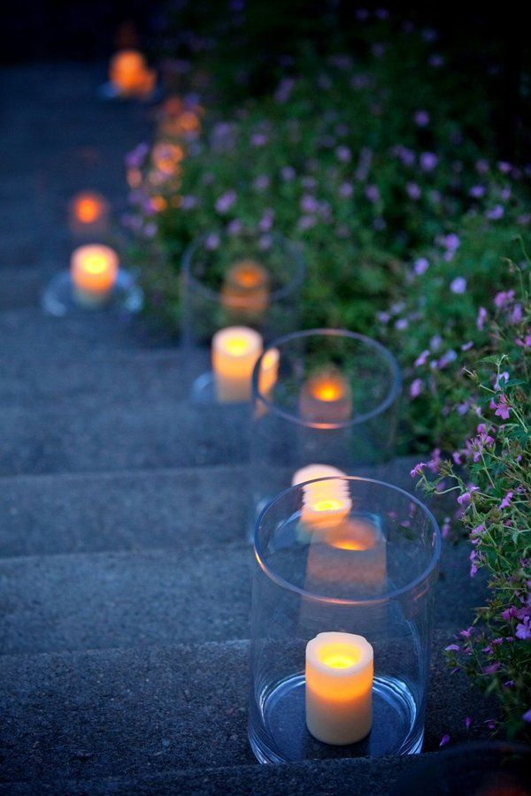 Could be a nice way to light the way to the tent. A great way to dress up a concrete walkway.
