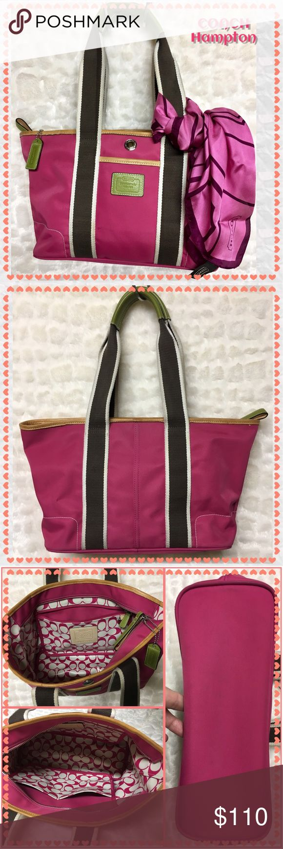 "🆕COACH Hampton canvas Weekend Tote-LK3-6261 COACH Hampton canvas Weekend Tote-LK3-6261 Pink with chocolate and lime green trim. 💯% Authentic in EUC More description in photos. This bag is in pristine condition! Comes with original dust-bag shown in photos. Bundle with pink scarf also sold in my closet for a discount. ""Reasonable"" offers welcome! Coach Bags Totes"