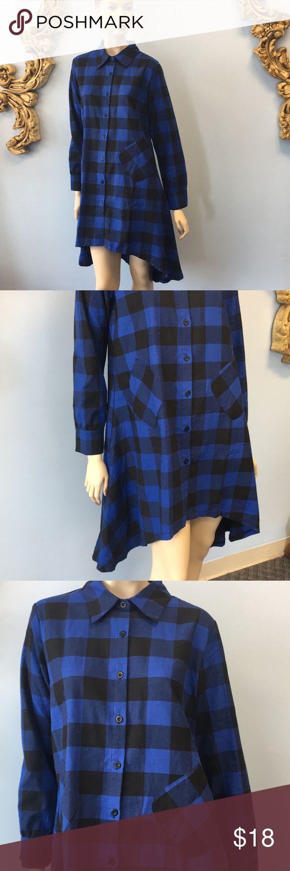 NWT Flannel shirt dress tunic blue black plaid Go Olrain Dresses High Low
