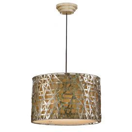 "Pendant with a rustic crosshatch metal shade.        Product: Pendant    Construction Material: Metal and fabric   Color: Champagne satin  Features:     Designed by Carolyn Kinder    Metal shade  Can be mounted on a sloped ceiling     Accommodates: (3) 60 Watt incandescent bulbs - not included   Dimensions: 14 H x 22"" Diameter"