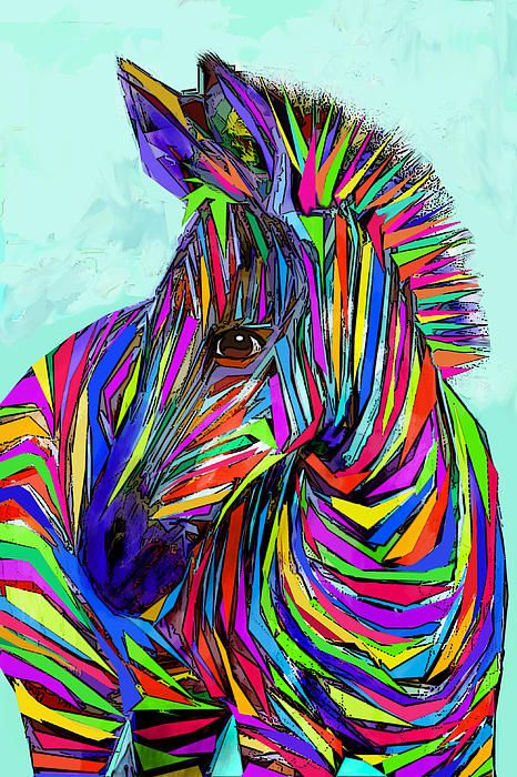 a horse of a different color- a rainbow zebra. Bright nursery art
