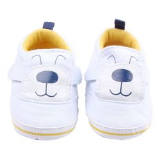 Eozy Newborn Toddler Cute Dog Baby Shoes Sandals Toddler First Walkers Kids Prewalker Anti-Slip Shoes Double-Sided Velcro (White)