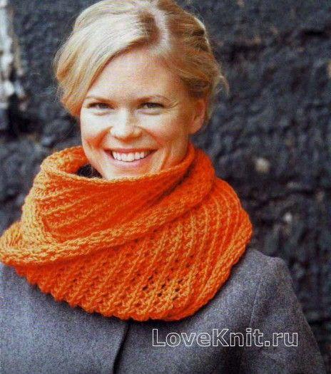 Оранжевый шарфик труба схема