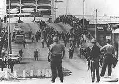 Bloody Sunday, Selma AL March 7, 1965.  Demonstrators attempt to cross the Edmund Pettus Bridge to march from Selma to Montgomery and are attacked by police.