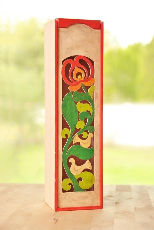 Wine box, Hungarian folk motifs www.placcon.hu