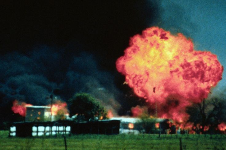 Waco siege~~ April 19, 1993: Nearly five hours later, the Davidians start multiple fires in the compound, causing nine of them to flee. Gun fire is soon heard from inside the compound, leading the FBI to believe the Davidians were carrying out mercy killings and suicides. Koresh was later found to have died of a gunshot to his forehead.