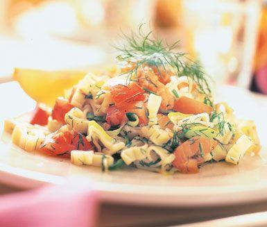 Ett smarrigt recept på pasta är detta med kallrökt lax och dill. Den frästa purjolöken får en krämigare konsistens av att kokas i pastavattnet och när du tillsätter tomaterna, laxen och dillen tillsammans med pastan behövs ingen sås.