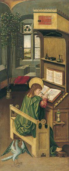 Saint John the Evangelist. Panel in the Altar of the Four Evangelists by Gabriel Mälesskircher, c. 1478 (Munich). Now in the Museo Thyssen-Bornemisza, Madrid.