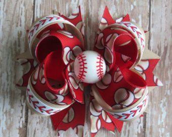 Baseball hair bow headband vintage-inspired Red Tan  5 inch grosgrain MLB alligator clip barrette resin Toddler girl Cici's Boutique