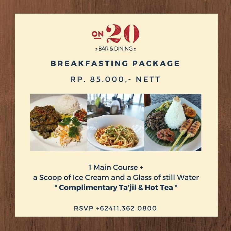 It's almost the time for us to break our fast at the first day of Ramadhan.  Treat yourself with our special Breakfasting Package during this holy month.  Only Rp. 85.000,- Nett / Person  For further inquiry, please call +62411.362 0800  #on20makassar | on20makassar.com