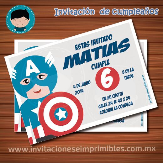 Invitación de cumpleaños Capitan America