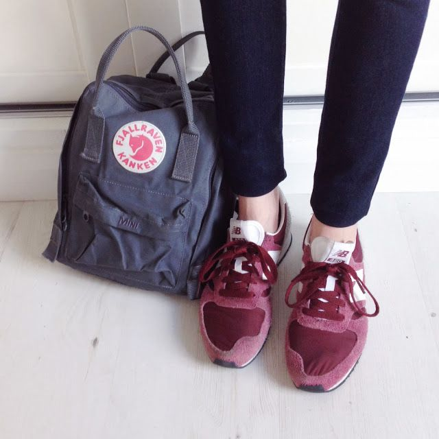 burgundy new balance, granite kanken mini http://www.josies-journal.com/2013/11/outfit-snippets.html