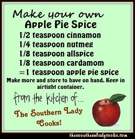 The Southern Lady Cooks: Did you ever get ready to make a pie and check the cupboard for spices to find that you don't have the one you are looking for?  Here is a handy tip on How to Make Your Own Apple Pie Spice.