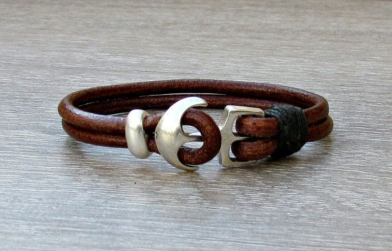 Anchor Mens Bracelet Mens Leather bracelet Cuff  by GUSFREE