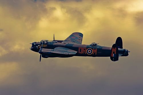 Lancaster Bomber with a beauty all of its own. As the B17s returned to their bases the Lancasters, and other British Bombers, took off for their Night Bombing Raids. USA + UK = Success, always.  rjp