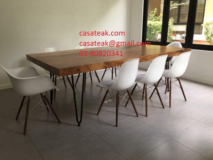 Suar Wood Dining Table Suarwood DiningTable WoodenTable Raintree MonkeyWood SuarwoodTablemetalLegs
