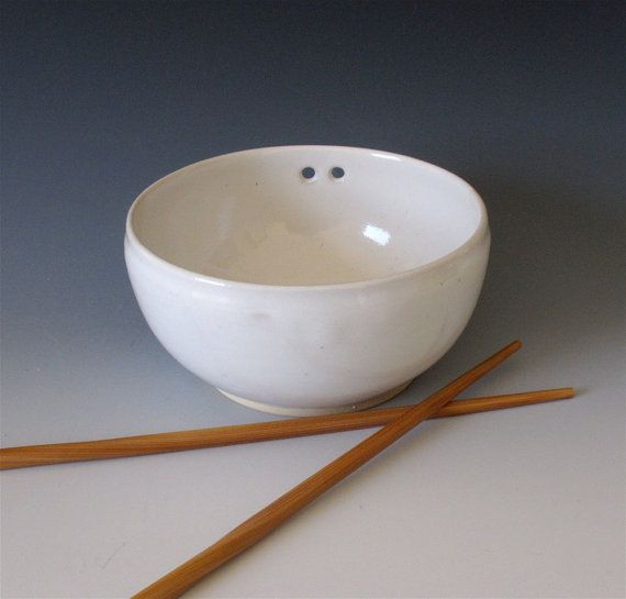 Glossy White Rice Bowl with Bamboo Chopsticks by AlethiaPottery