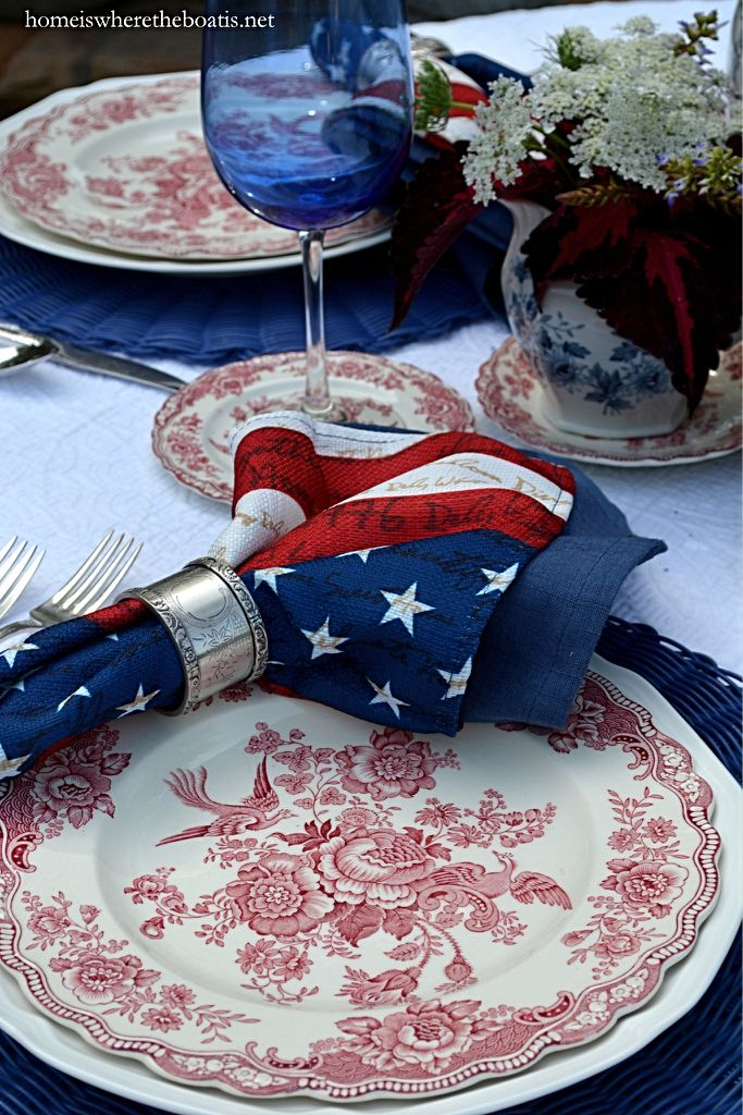 A Patriotic Red, White and Blooming Table with transferware for Independence Day | homeiswheretheboatis.net #july4th #flag #MemorialDay