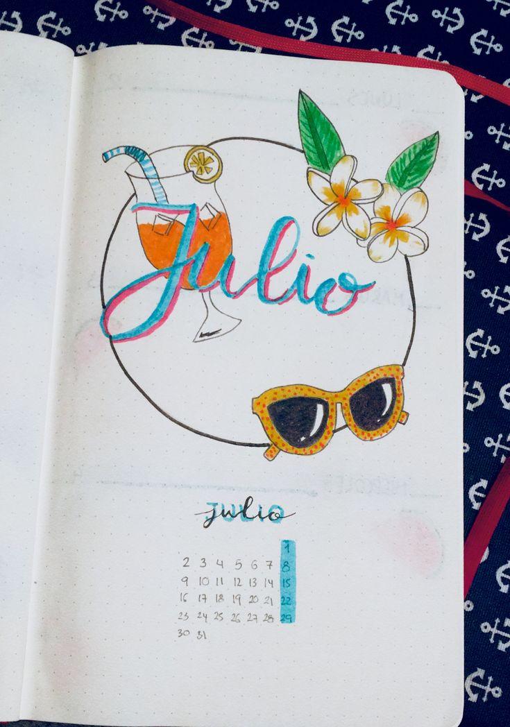 Bullet Journal Cover July. Portada De Julio Bullet Journal