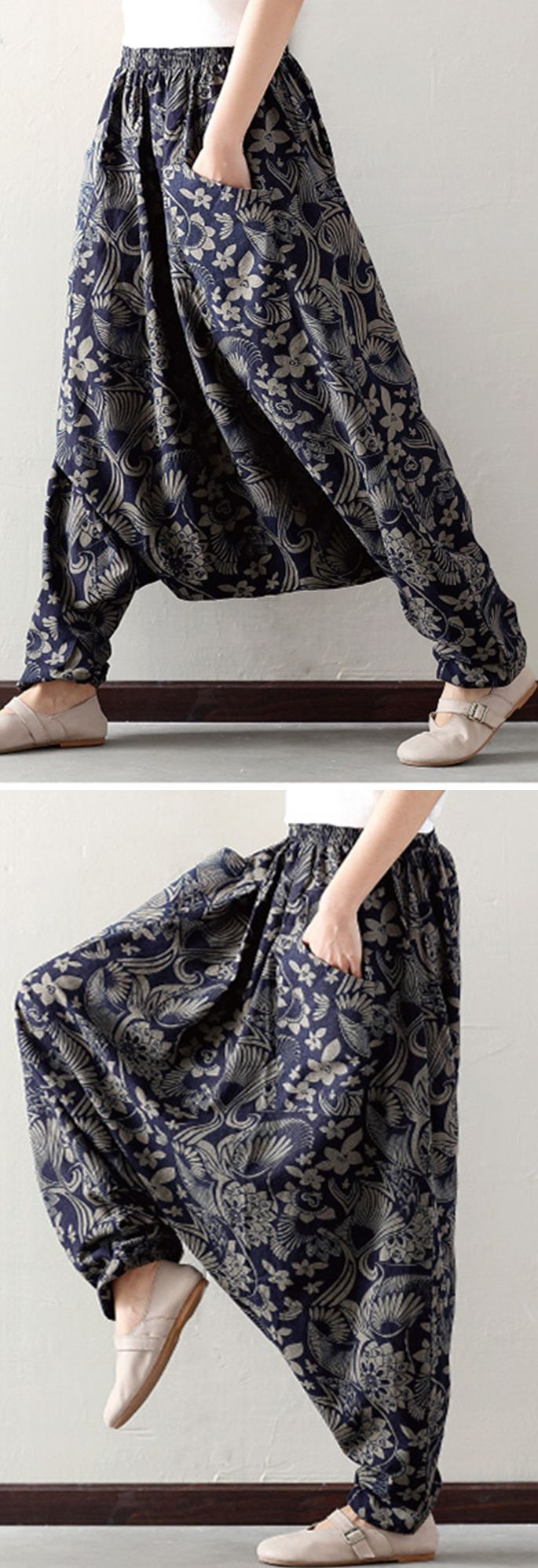US$ 16.43 O-NEWE Loose Printed Elastic Waist Pockets Harem Pants For Women