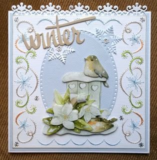 Our embroidery card blog: Challenge # 39 - embroidered winter card with a bird