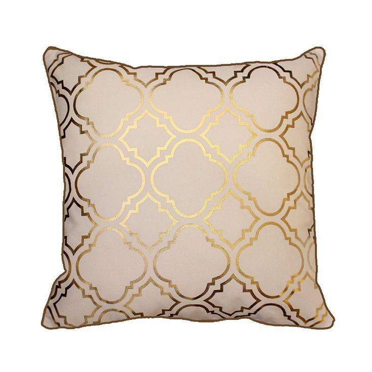 """Moroccanity - Federa per cuscino in foglia d'oro metallizzato, motivo a piastrelle a quadrifoglio in stile marocchino, look vintage, 43x 43cm, White, 17 x 17"""": Amazon.it: Casa e cucina"""