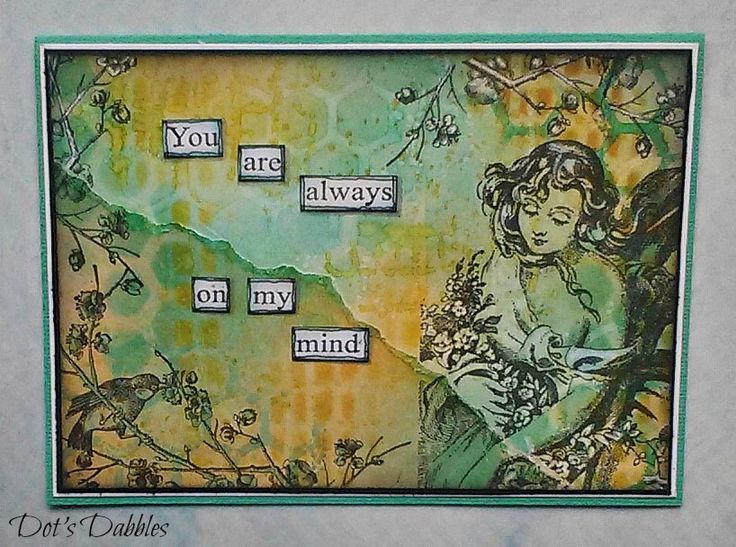 """""""You Are Always On My Mind"""" is a card that I made on a recent craft retreat...my first one!  It was a quiet and calm place to be and so this is probably reflected in this card. Enjoy<3"""