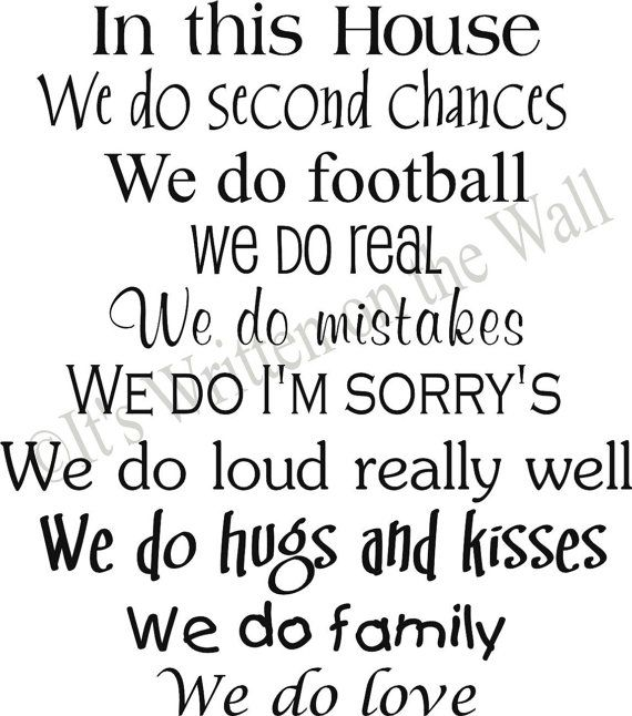 Family Love Quotes: CUSTOMIZE In This House We Do Second Chances 22x20 YOU