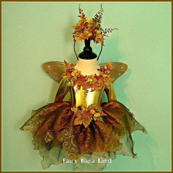 Fairy Costume for toddlers size 2/4 - The Golden Woodland Faerie - photo prop - Halloween - Birthday