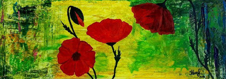 Red poppies. By Ieva Krivma. Acrylic. 70x25 cm. Pressed cardboard