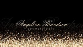 A glamorous black and gold cosmetologist business card with a gold dust glitter pattern spraying up from the bottom and fading into an elegant black background. Personalize by adding your name with a soft shadowed effect. http://www.zazzle.com/shimmering_gold_cosmetologist_damask_black_card_business_card-240348455820918725?rf=238835258815790439&tc=ZBCPin