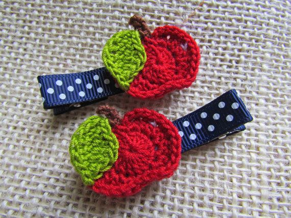 Girls / Baby Hair Clip, Unique Hair Clips, Crocheted Clip Set, Red Apple, Back to School