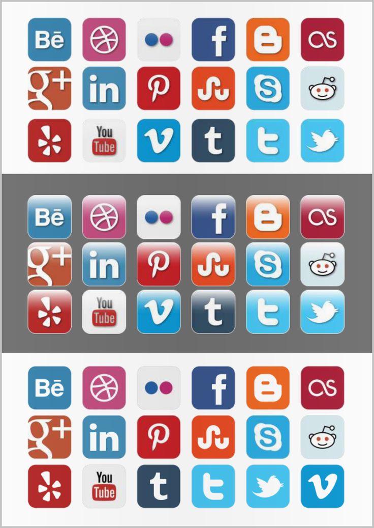 Social Media Iconen set 2. De iconen zijn ook ideaal te gebruiken voor een origineel CV MooiCV format.