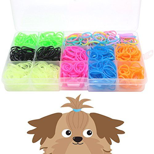 YOY 3/4 Pet Dog Stretchy Rubber Bands 700/Box  Puppy Elastics Ties Pony Tail Holders Hair Accessories for Doggy Grooming Top Knots Ponytails Braids and Dreadlocks