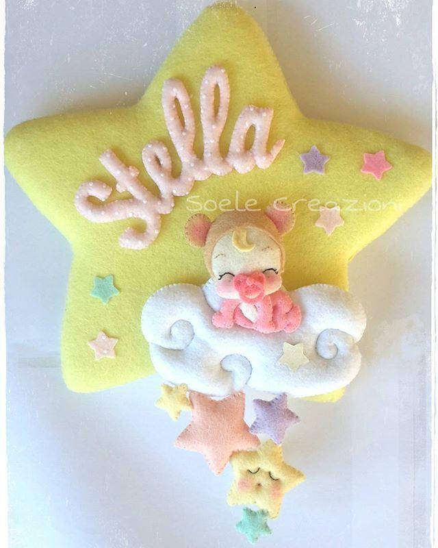 Fiocco nascita Stella #felt #pannolenci #baby #rosa #pink #babylove #bambini #feltro #feltros #handmade #maternita #nascita #teramo #fiocconascita #fattoamano #fiocchinascitapersonalizzati #fiocconascita #stella #stars #nuvolebianche
