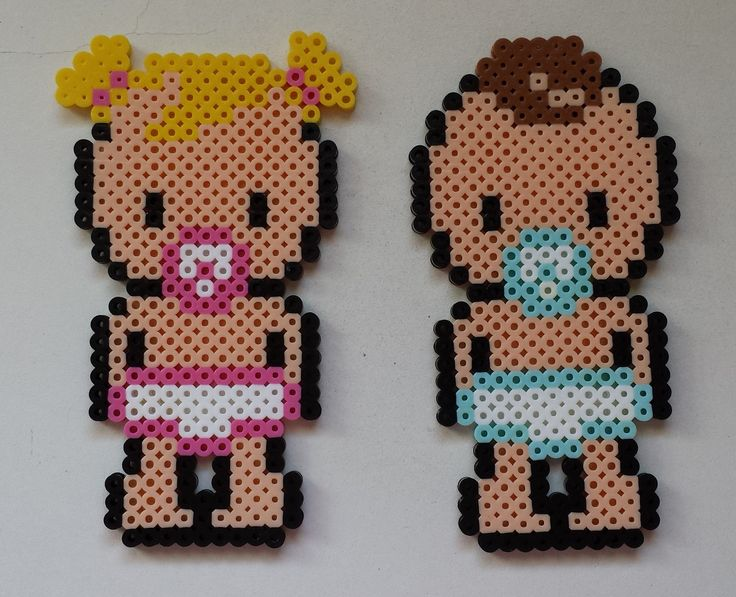 Baby girl and baby boy perler beads by Joanne Schiavoni - Pattern: https://de.pinterest.com/pin/374291419014651595/