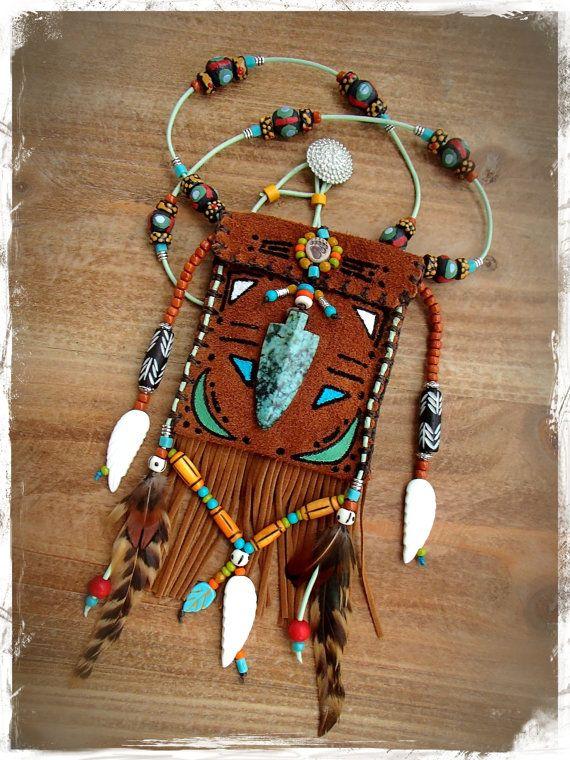 Arrowhead LEATHER medicine bag Tribal american INDIAN by GPyoga, $119.00