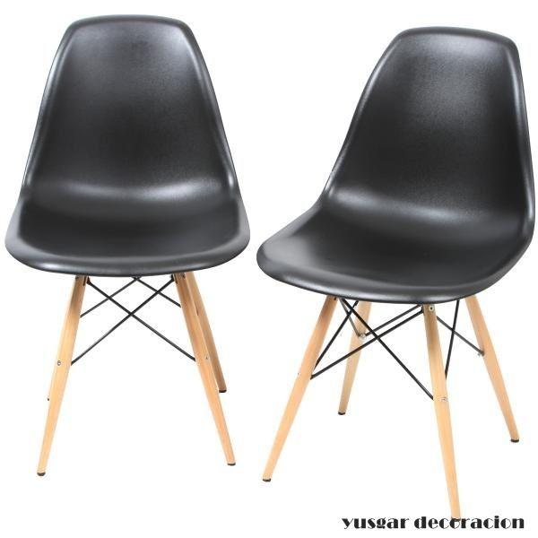 silla tower negra, asiento de carcasa abs, patas de madera de haya con varillas metalicas de unión. otros colores disponibles. una silla moderna y elegante. pvp.135 euros. contactar con yusgar25@gmail.com