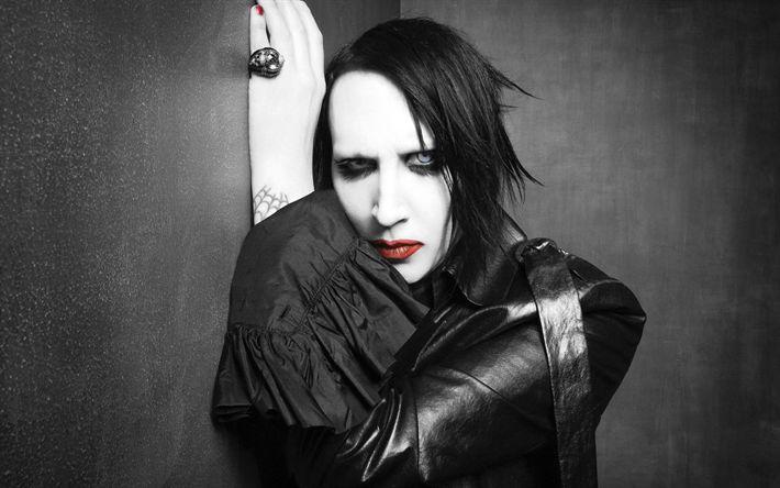 Download wallpapers Marilyn Manson, Brian Hugh Warner, portrait, 4k, American rock singer, rock band