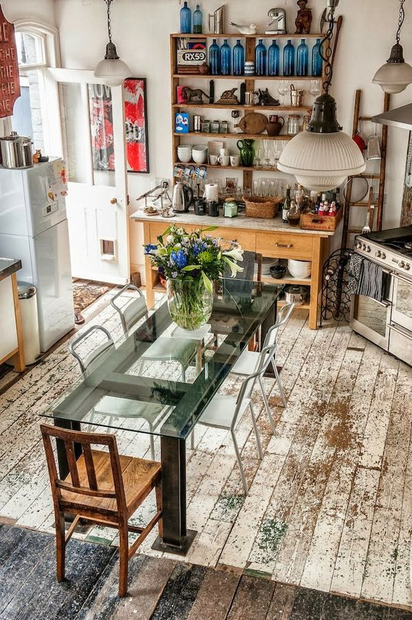 contemporary bohemian kitchen decor with modern glass furniture