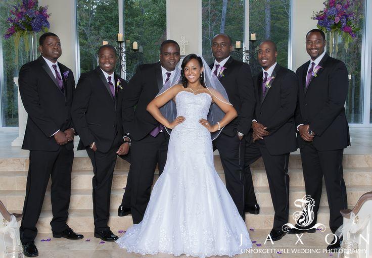 African American bride and groomsmen Ashton Garden Atlanta