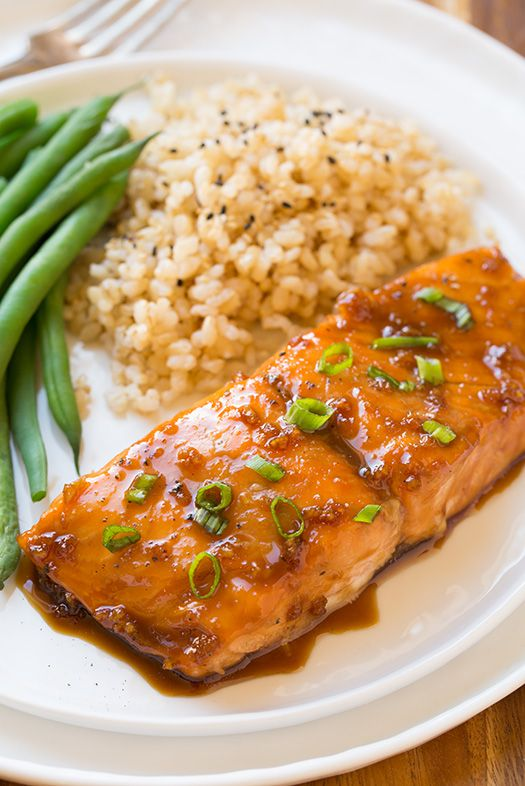 Maple-Soy Glazed Salmon 4 (6 - 7 oz) skinless salmon fillets 1/3 cup real maple syrup 3 Tbsp soy sauce (not low-sodium) 2 cloves garlic, minced Freshly ground black pepper and chopped green onions (optional)