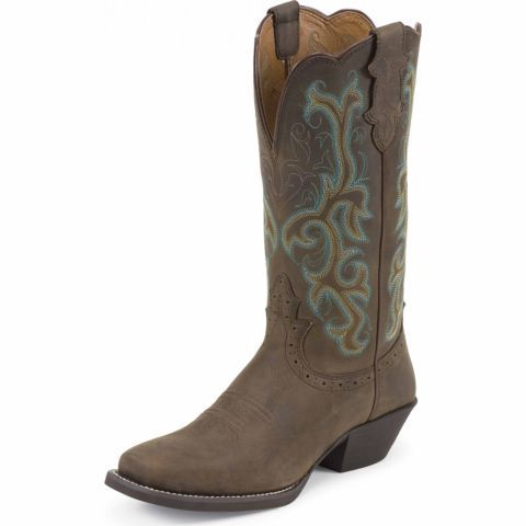 Justin Ladies 12 In Stampede Boot Sorrel Apache Brown