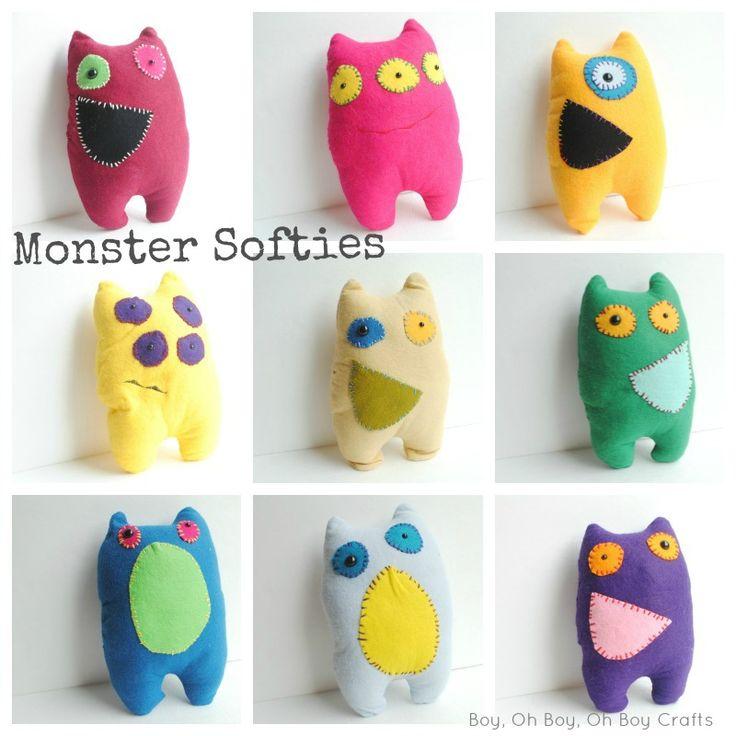 Boy, Oh Boy, Oh Boy Crafts: Felt Monster Softies