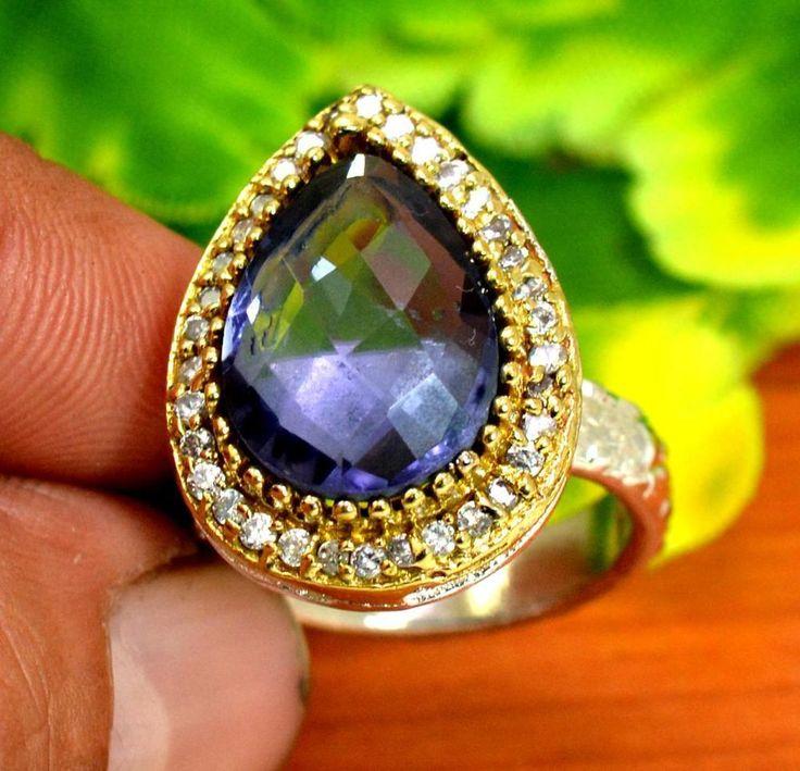 "Amethyst Gemstone Turkish Victorian 925 Silver Plated Ring Size US 7 1/4"" R308 #krishnagemsnjewels #Solitaire"