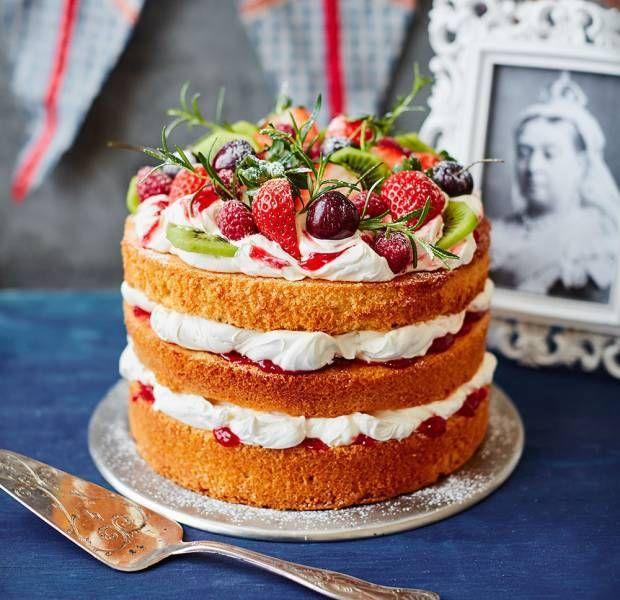 Astonishing Fruit Topped Victoria Sponge Recipe With Images Tea Cakes Personalised Birthday Cards Arneslily Jamesorg