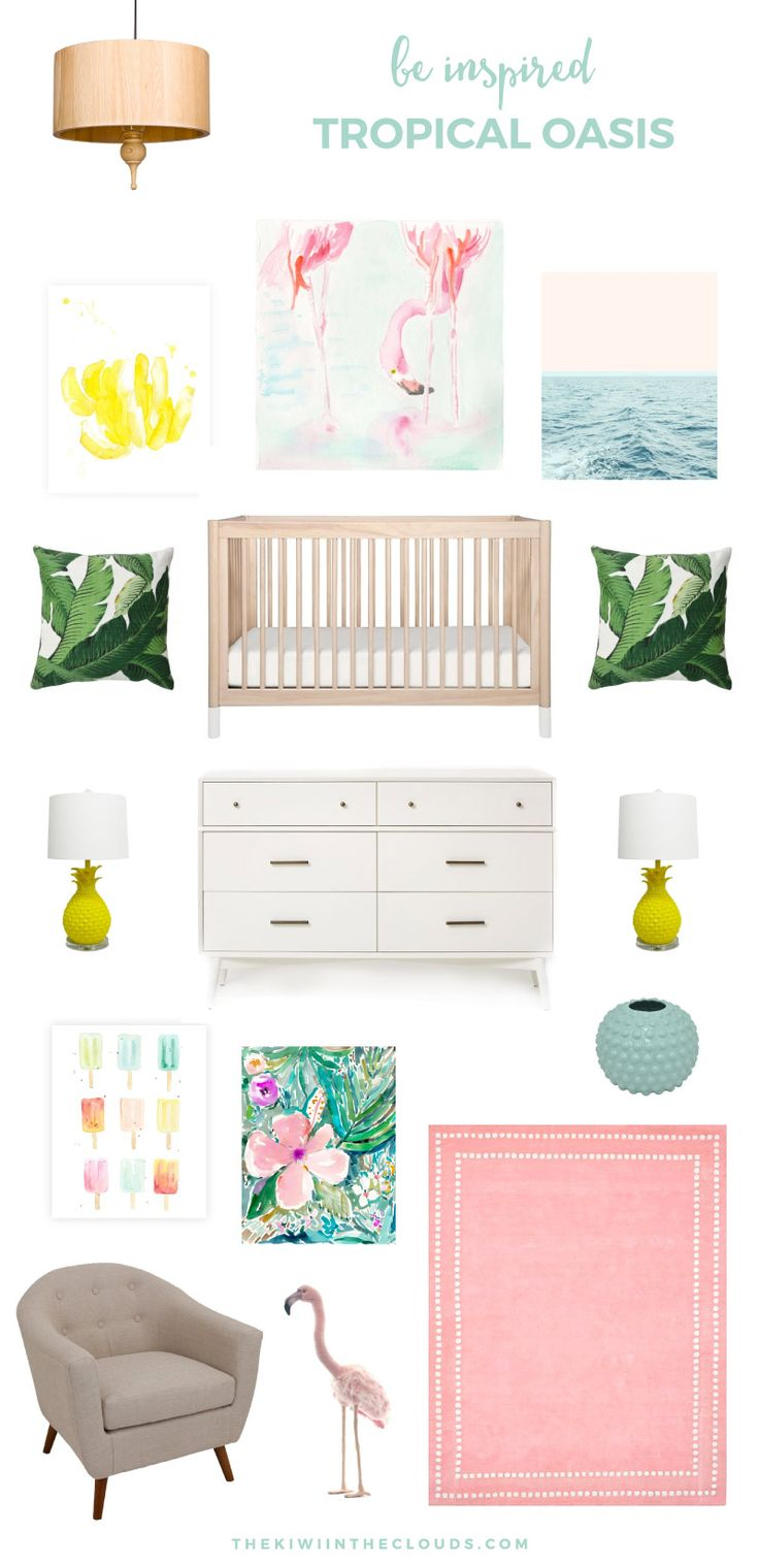 Tropical Baby Nursery | This baby girl's nursery inspiration board is fun, flirty and screams summer time! Click through to view all the details.