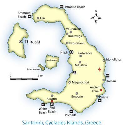 map of santorini, santorini map, thira map