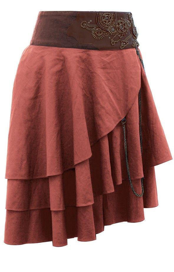Short Tan Layered Steampunk Skirt | Steampunk Skirts | Steampunk Clothing