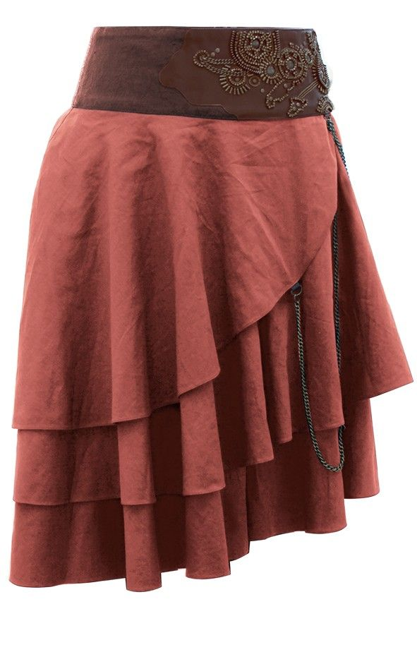 Short Tan Layered Steampunk Skirt | Steampunk Skirts | Steampunk Clothing